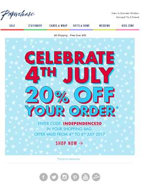 20% Off - Celebrate 4th July