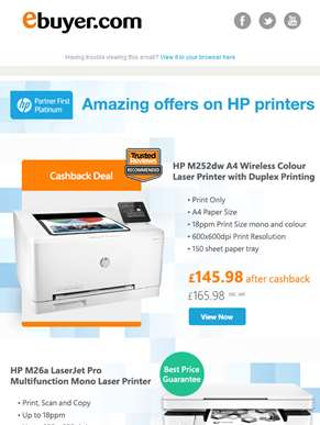 Hi  - HP Printers from £39.98 + 3 months free ink