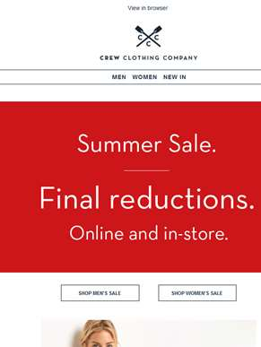 SALE. Final reductions. Starts now.