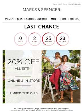 LAST CHANCE: 20% off clothing & home