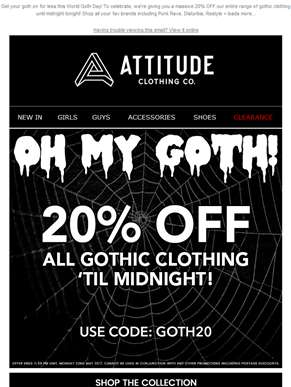 ?? 20% OFF All Gothic Clothing 'til Midnight! ??