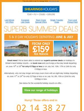 Offers extended for a limited time only: Superb Summer Deals from just £159pp