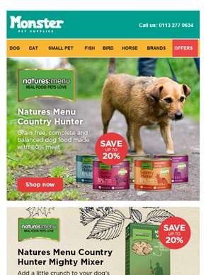Natures Menu Country Hunter - cans, mighty mixer and treats - Save up to 20%