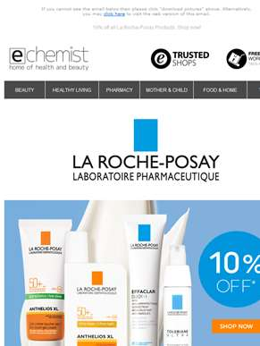 10% off all La Roche-Posay Products. Shop now!