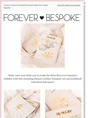 Dumbo Passport | Summer Holiday Gift Inspiration By Forever Bespoke