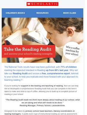 Take the Reading Audit and win a coffee machine for your school