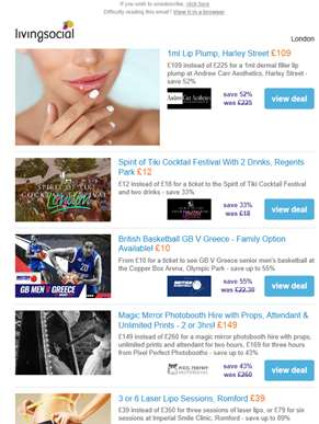 Deals for you: Harley St Lip Plump £109 | Spirit of Tiki Cocktail Festival £12 | British Basketball