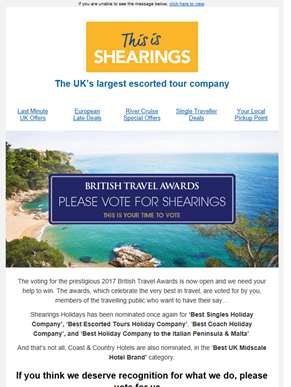 Voting For British Travel Awards Now Open  | Please Vote for Shearings Holidays!