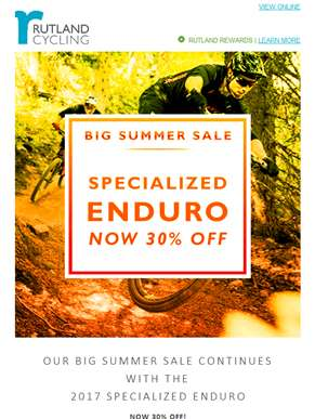 Big Summer Sale continues with the Specialized Enduro – Now 30% Off!