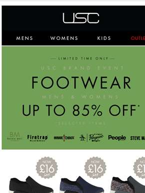 Up to 85% OFF footwear* - Hurry, limited time only!
