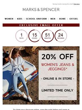 LAST CHANCE: 20% off jeans & jeggings