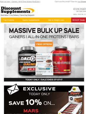 Get Bulking + Mars Protein Bar Offer