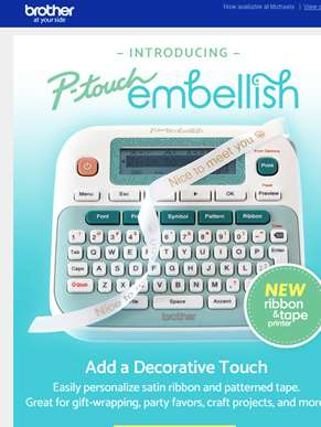 New P-touch Embellish ribbon and tape printer!