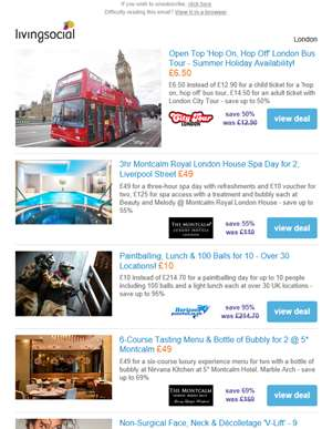 Deals for you: Open Top London Bus Tour £6.50 | 3hr Montcalm Spa Day for 2 £49 | Paintballing for 10