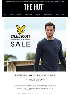 Extra 20% off Lyle & Scott SALE and more...
