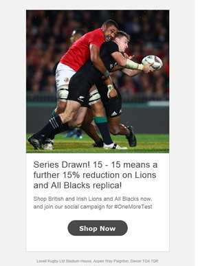 Series Drawn! 15 - 15 means a further 15% reduction on Lions and All Blacks replica!