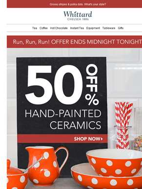 Ends midnight tonight - 50% off hand-painted ceramics