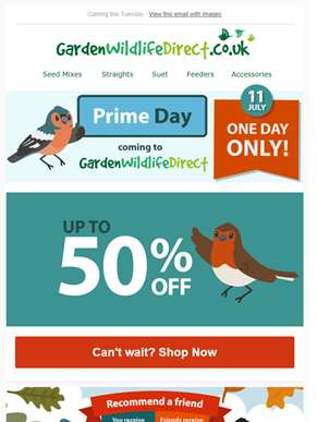 Prime Day coming to Garden Wildlife Direct - Up to 50% off!