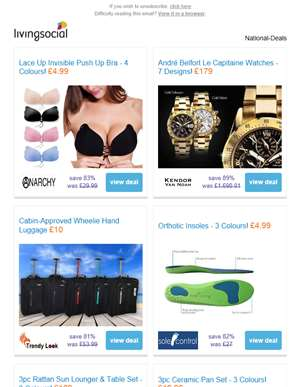 Deals for you: Invisible Push Up Bra £4.99 | Andre Belfort Watch £179 | Cabin-Approved Luggage £10 |