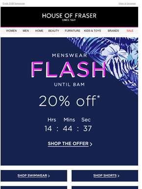 Flash discount: 20% off menswear, ends 8am tomorrow