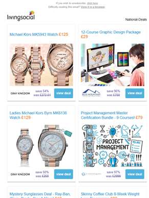 Deals for you: Ladies' Michael Kors Watch £125 | Graphic Design Package £29 | Michael Kors MK6136 £1