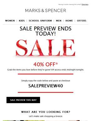 Your exclusive sale preview ends today!