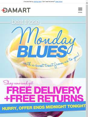 Beat the Monday Blues with FREE DELIVERY and FREE RETURNS