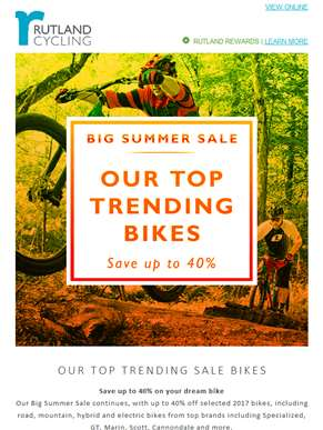 Our top trending bikes from our Big Summer Sale – save up to 40%!