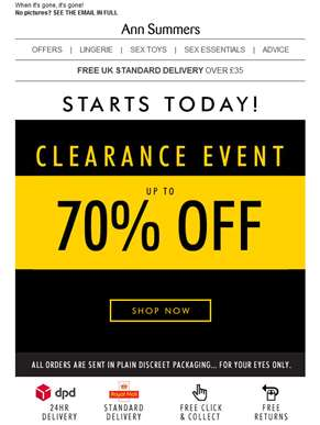 Your CLEARANCE event is here