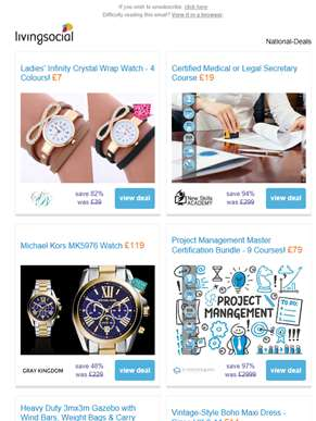Deals for you: Infinity Crystal Wrap Watch £7 | Medical or Legal Secretary Course £19 | Michael Kors