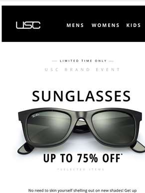 Up to 75% OFF Sunglasses, NOW! Ray-Ban, Guess + more...
