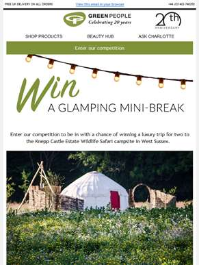 Win a luxury glamping trip for two