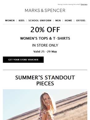 Summer-ready buys for you, him and the kids | 20% off women's tops