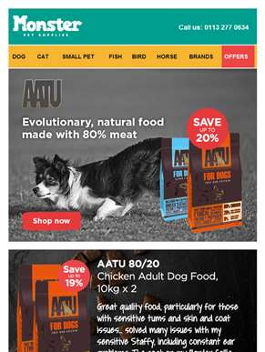 Stock up on AATU dog food and find out why our customers love it..