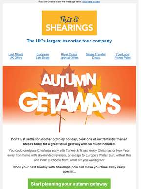 Autumn getaways from only £79pp