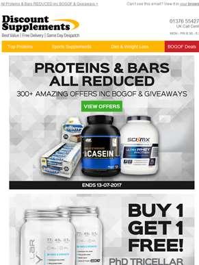 Bars & Proteins Sale + PhD BOGOF, Reflex Amino & More