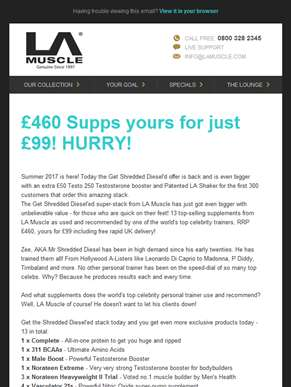 Get Shredded Diesel'ed today with an unprecedented 13 supps. worth £460, yours for £99 (Save £361)