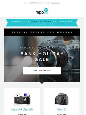 Our bank holiday sale starts now - Special discounts & free delivery!