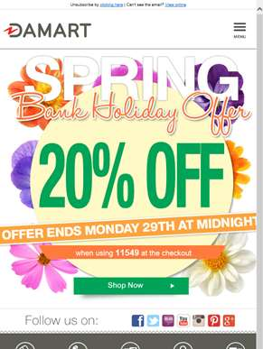 20% off this bank holiday
