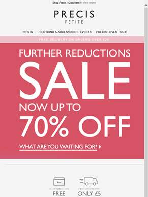 Summer sale up to 70% off, Further Reductions!