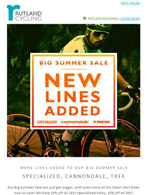 NEW: 15% off all 2017 Specialized bikes in our Big Summer Sale!