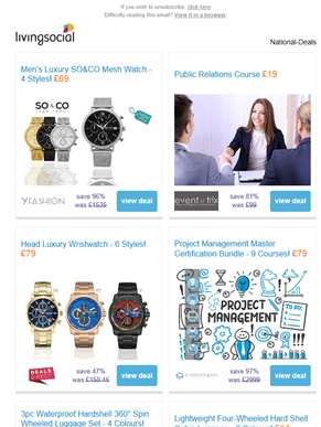 Deals for you: Men's SO&CO Watch £69 | Public Relations Course £19 | Head Wristwatch £79 | Project M