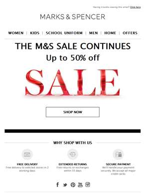 Up to 50% off sale continues