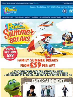 Summer Breaks From £69! | School Summer Holidays from only £129 per family | Don't Miss out!