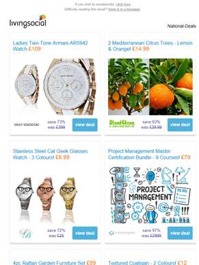 Deals for you: Ladies' Armani Watch £109 | 2 Citrus Trees £14.99  | Cat Geek Glasses Watch £6.99 | P