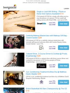 Deals for you: Will Writing £14 | Makeup Masterclass £29 | 3-Course Dinner & Cabaret @ Privee £29 |