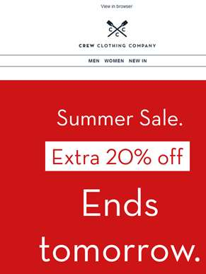 Extra 20% off SALE. Ends tomorrow.