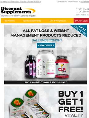 Sale ends tonight - Fat & Weight Loss Products REDUCED