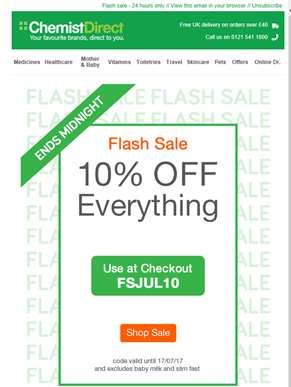 Flash sale - extra 10% off - 24 hours only!