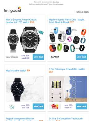 Deals for you: Men's Armani AR1703 Watch £99 | Mystery Sports Watch Deal £12 | Men's Marble Watch £9